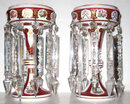Pair of Antique Ruby Red Cased Glass Lusters ( Lustres ) Attributed to Moser