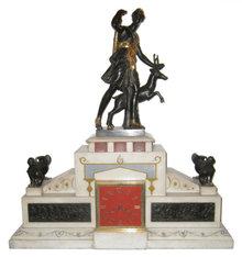 Antique Neoclassical Greek Roman Revival Figurative Bronze & Marble Mantle Clock