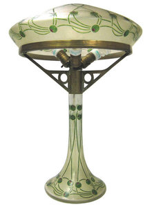 Antique Arts and Crafts Cameo Glass Table Lamp with Olive Motif