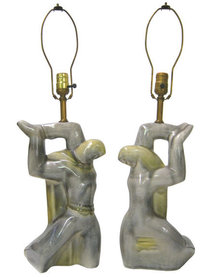 Pair Mid-century Heifetz Figural Ceramic Table Lamps