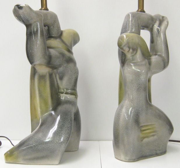 Pair Mid-century Heifetz Figural Ceramic Table Lamps