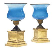 Pair Antique Russian Ormolu Mounted Opaline Vases