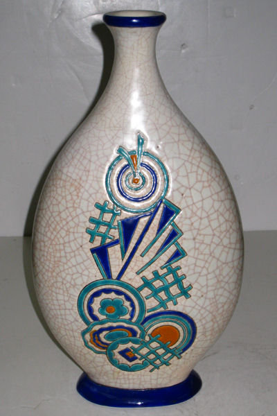 Art Deco Period Earthenware Pillow Vase by Longwy