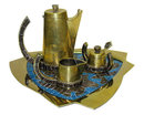 Salvador Teran Brass & Mosaic Tile Tea Coffee Set