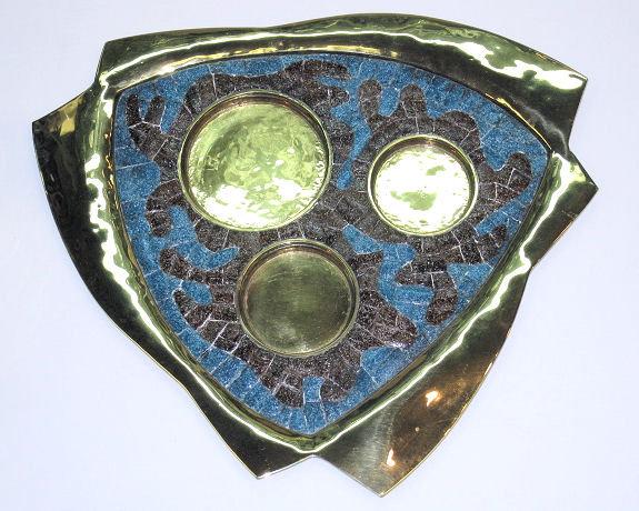 Salvador Teran Brass & Mosaic Tile Tea Coffee Set
