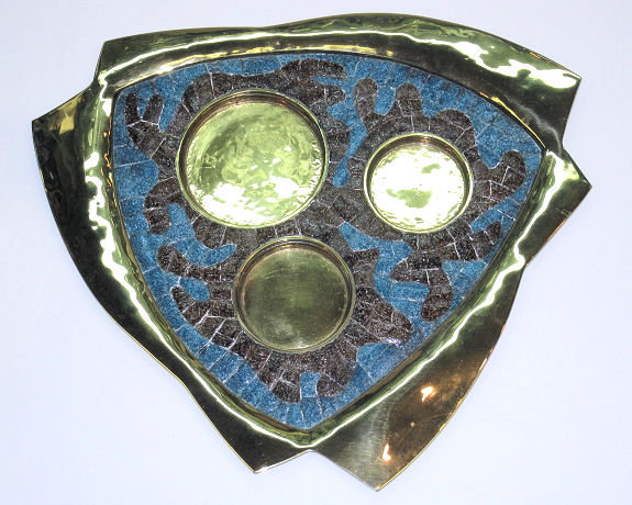 Mid-Century Modern Salvador Teran Brass & Mosaic Tile Tea Coffee Set