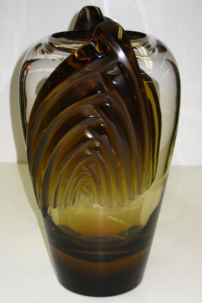 Marrakech Amber Glass Vase by Lalique