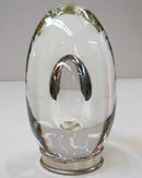 Steuben Crystal Glass Egg Sculpture with Sterling Silver Pedestal and Original Gift Box