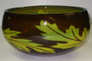 Cased Glass Bowl with Oak Tree Leaf Motif by Jan Johansson for Orrefors