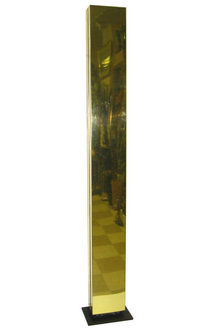 Mid-Century Polished Brass Torchere Halogen Floor Lamp