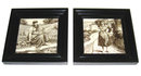 Pair of Antique Framed Figural Grisaille Tiles by Minton
