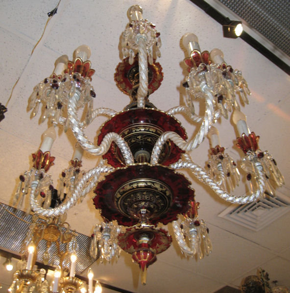 Antique Bohemian Gilded Ruby Red Glass Chandelier