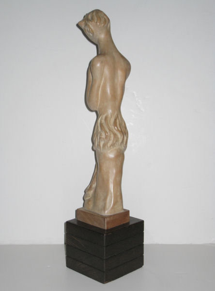 Mid-Century Modern Limed and Sculpted Wooden Figurine of a Faun by Heifetz