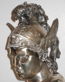 Pair Gilt and Silvered Bronze Busts of Gods Hermes and Ares