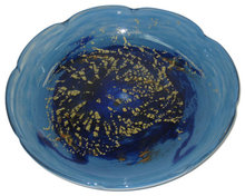 Art Deco Period Blue Glass Centerpiece Bowl by Daum