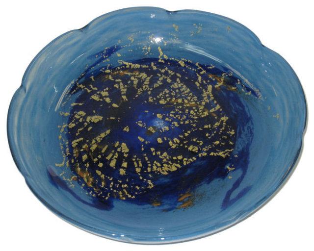 Art Deco Period Blue Glass Centerpiece Bowl by Daum