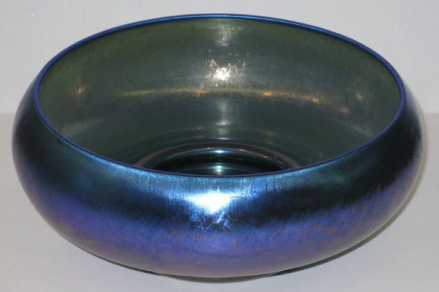 Iridescent Blue Lustre Glass Bowl by Quezal