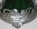 Pair of WMF Art Nouveau Silvered Metal Green Glass Claret Jugs