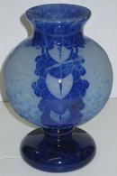 Schneider Charder Le Verre Francais Blue Cameo Glass Vase
