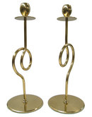 Pair of Mid-Century Modern Polished Brass Candlesticks
