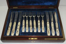 Antique English Silver & Ivory Fish Flatware Set
