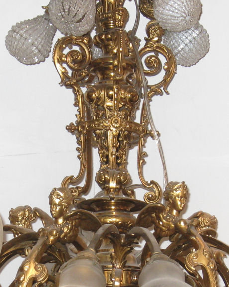 Electrified Neoclassical Victorian Gilt Metal Gas Chandelier