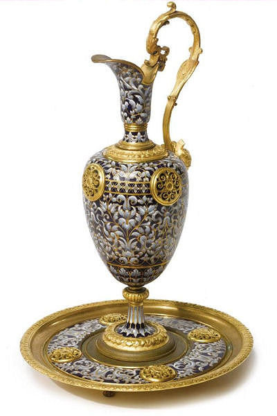 Antique French Champleve Enamel and Gilt Bronze Ewer and Stand