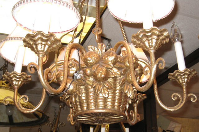 Fruit Basket Form Gilt Metal Chandelier