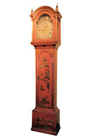 English Georgian Vermilion Red Chinoiserie Grandfather Clock by William Jackson