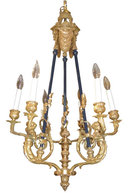 Antique French Louis XVI Style Ormolu Bronze Chandelier