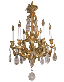 Antique Louis XV Style Ormolu Bronze Chandelier with Rock Crystal Pendants