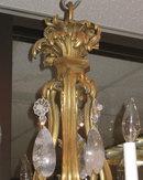 Antique Louis XV Style Ormolu Bronze Chandelier with Rock Crystal Pendants