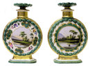 Pair Jacob Petit Porcelain Pedestals & Decanters