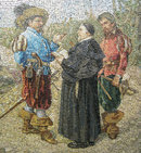 Large Mosaic Plaque Titled Promessi Sposi (The Betrothed) from Vatican Workshop