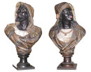 Pair of Antique Austrian Terracotta Orientalist Moor Busts
