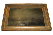 Moonlit Seascape Oil Painting by Alexis Jean Fournier (1865-1948)