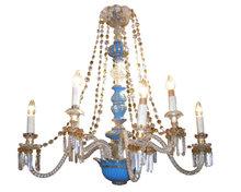Antique Blue Opaline Glass Chandelier