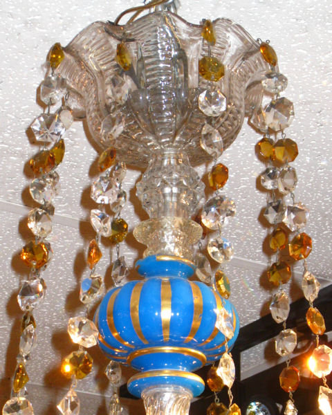 Antique Blue Opaline Glass Chandelier