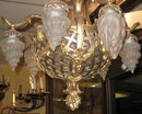 Antique French Louis XV Style Basket Form Bronze & Crystal Chandelier