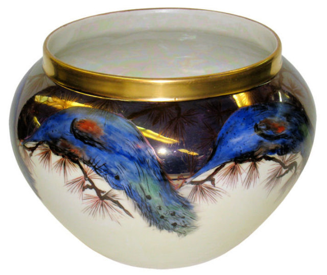 Antique Delinieres & Co. ( D&C ) Limoges Porcelain Vase with Peacock Motif