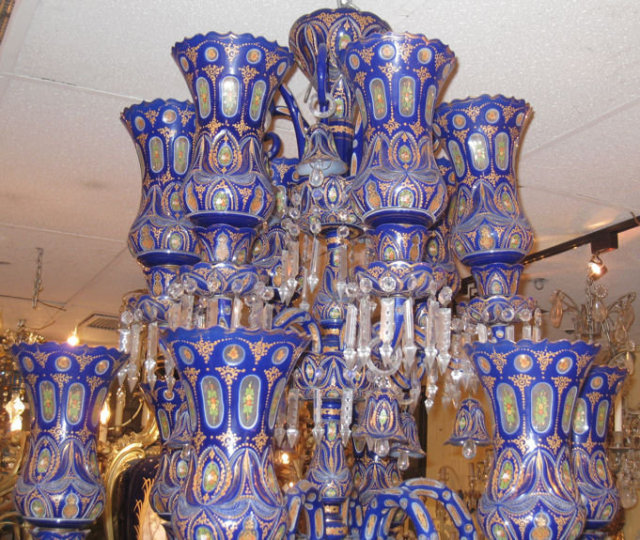 Palatial Antique Bohemian Blue Cased Glass Chandelier Made For Ic Market