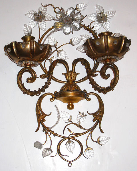 Maison Bagues Style Gilt Brass & Glass Sconces