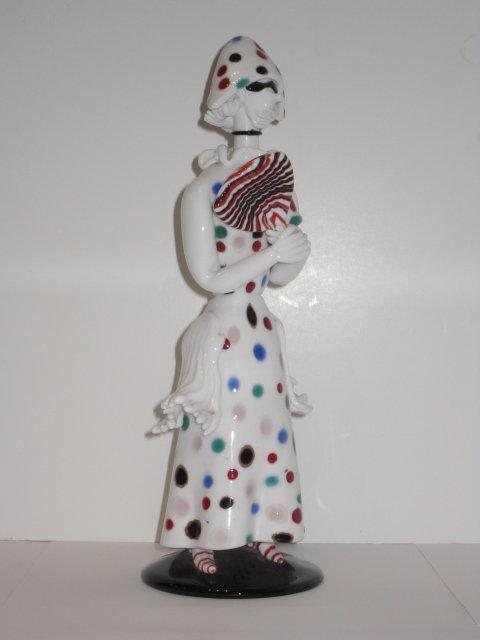 Fulvio Bianconi Arlechina Commedia del' Arte Glass Figurine for Venini