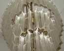 Cascading Acrylic and Brass Chandelier in Style of Venini or Camer