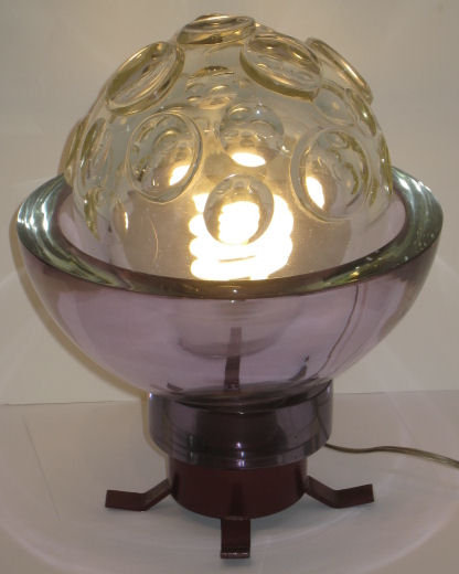 Fontana Arte Sculptural Glass Sphere Table Lamp c1960s
