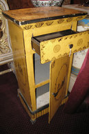 Pair of Antique French Empire Revival Yellow Painted & Stenciled Tole Metal Side Cabinets