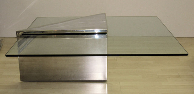 Triform Chrome-Plated Steel & Glass Coffee Table by J. Wade Beam for Brueton