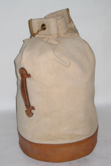 Hermes Canvas and Leather Duffle Bag