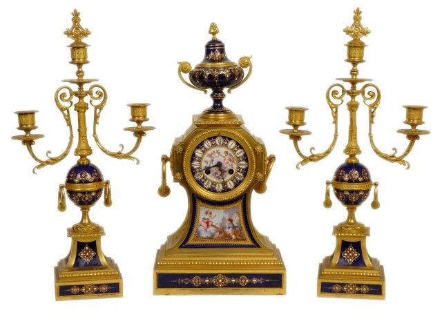 Antique French Ormolu Bronze & Enamel Clock Garniture