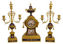 Antique French Ormolu Bronze & Enamel Clock Garniture